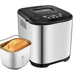 15 Program 2.2LB Programmable Bread Maker Stainless Steel Ho