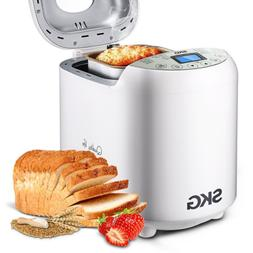SKG Automatic Bread Machine, 19 Programs, 3 Loaf Sizes, 3 Cr