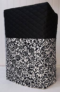 Black & White Floral Damask Bread Machine Cover