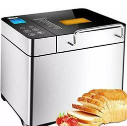 Bread Machine, Automatic 2LB Maker Nuts Dispenser, LCD Displ