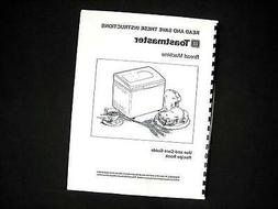 Toastmaster Bread Maker Machine Directions Instruction Manua