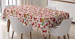 Ambesonne Christmas Tablecloth, Cartoon Design Santa Claus B