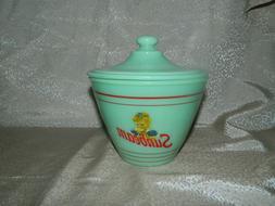 Jadeite Green Jade Glass Sunbeam Bread Grease Jar with Lid i