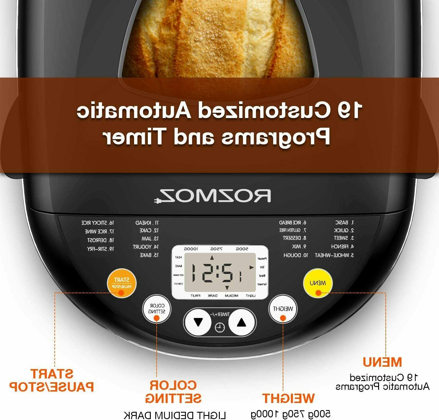 19-in-1 Programmable Stainless Steel Automatic Bread Maker 2LB,Keep Warm