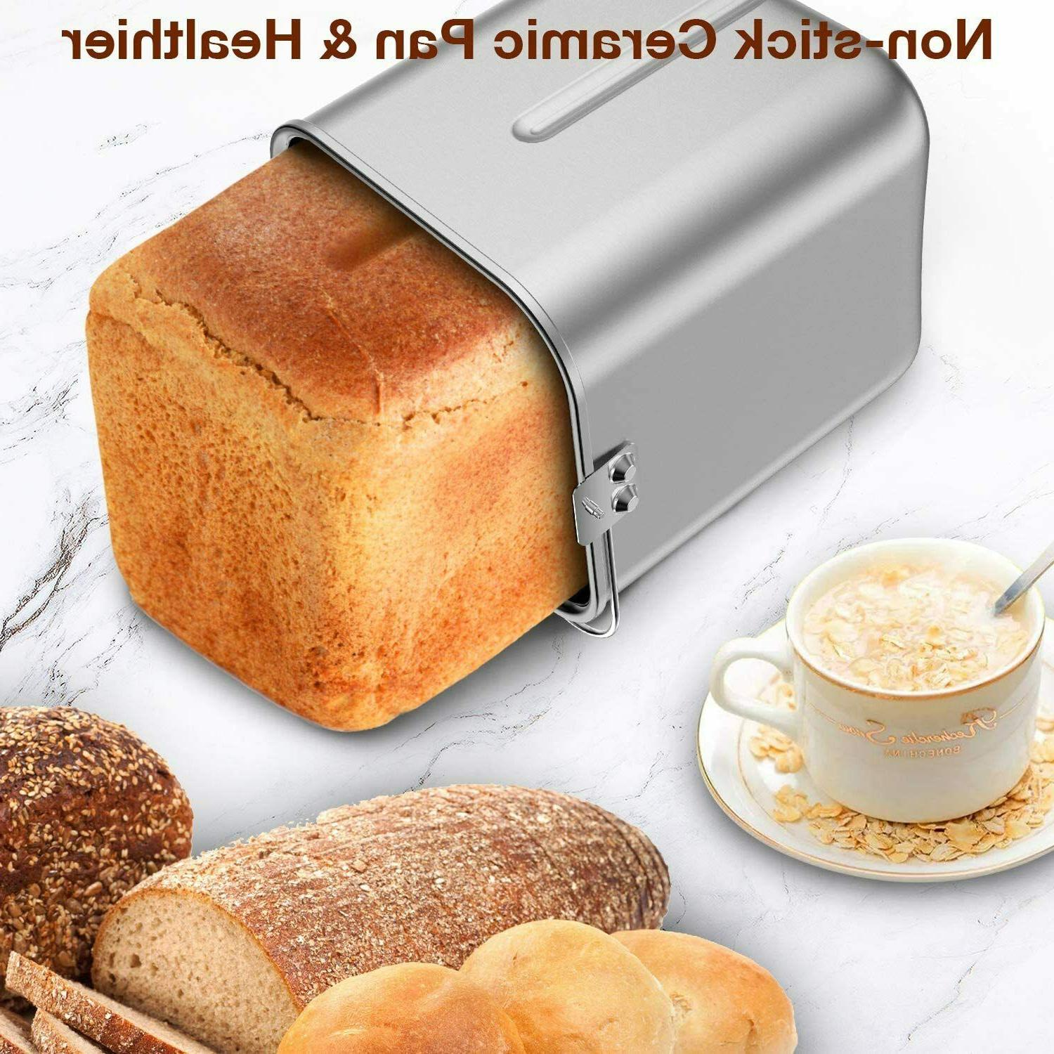 19-in-1 Programmable Stainless Automatic Bread 2LB,Keep Warm