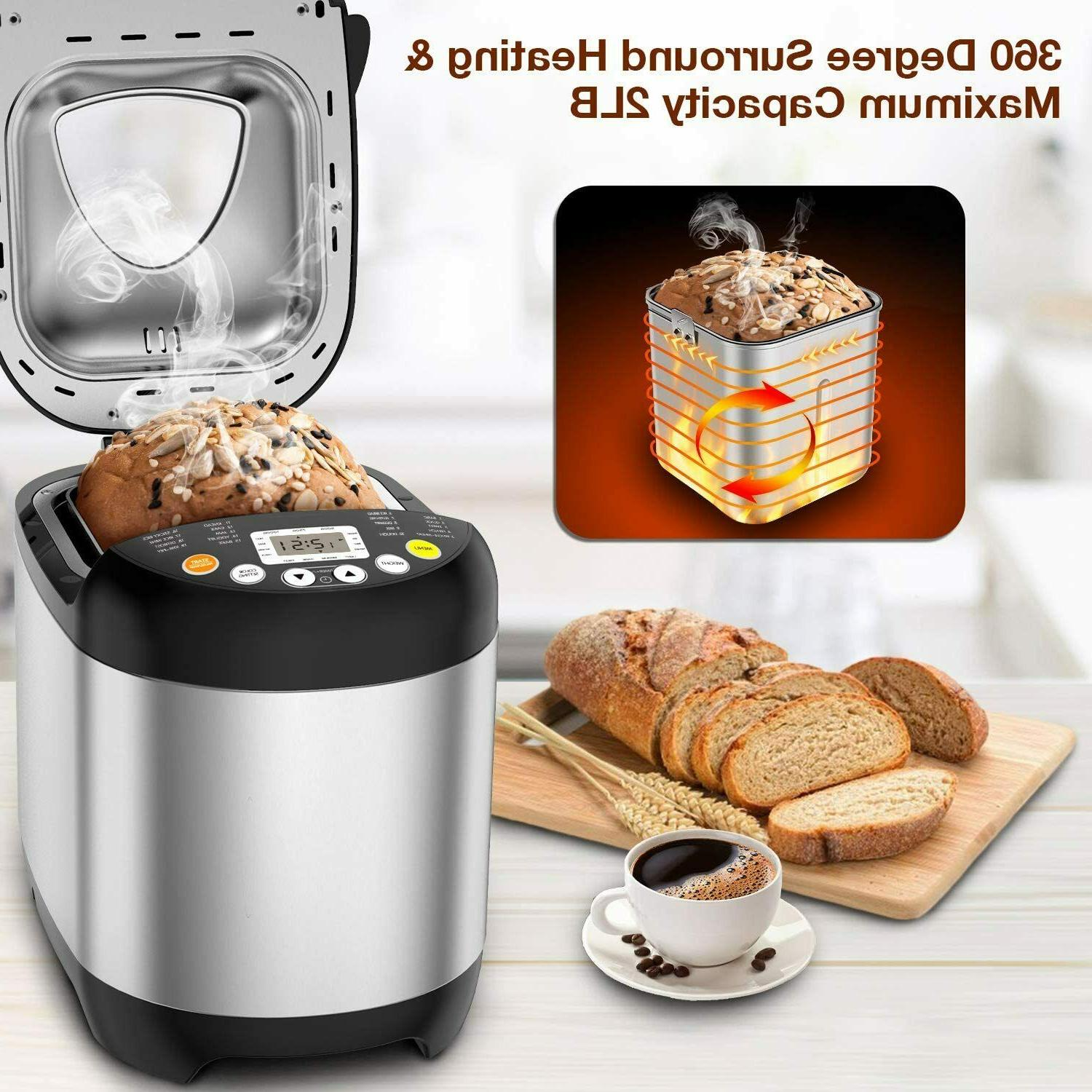 19-in-1 Programmable Stainless Automatic Bread 2LB,Keep