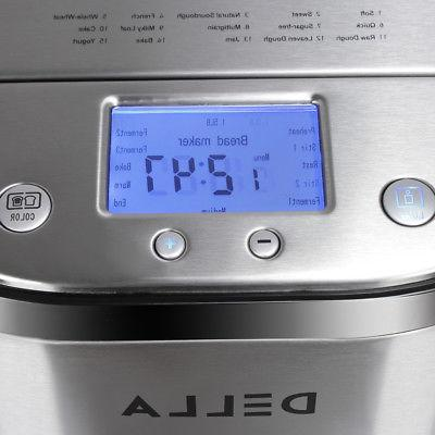 2 LB Automatic Maker Stainless Programmable Bread Machine, Silver