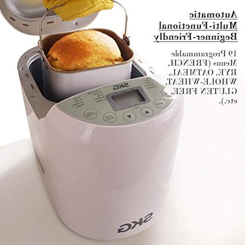 SKG Automatic 2LB - Beginner Friendly Programmable Bread - Gluten Free Wheat Breadmaker
