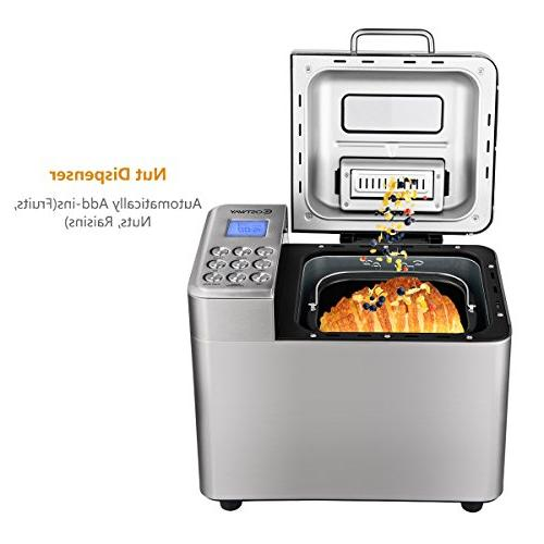 COSTWAY Automatic Bread Maker Stainless Multifunctional Machine 15 Sizes, Crust 15 Hours 1 Keep