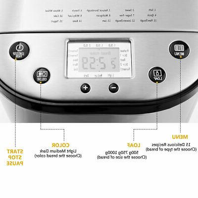 2 LB Automatic Breakfast Bread Maker Home Kitchen Stainless Steel