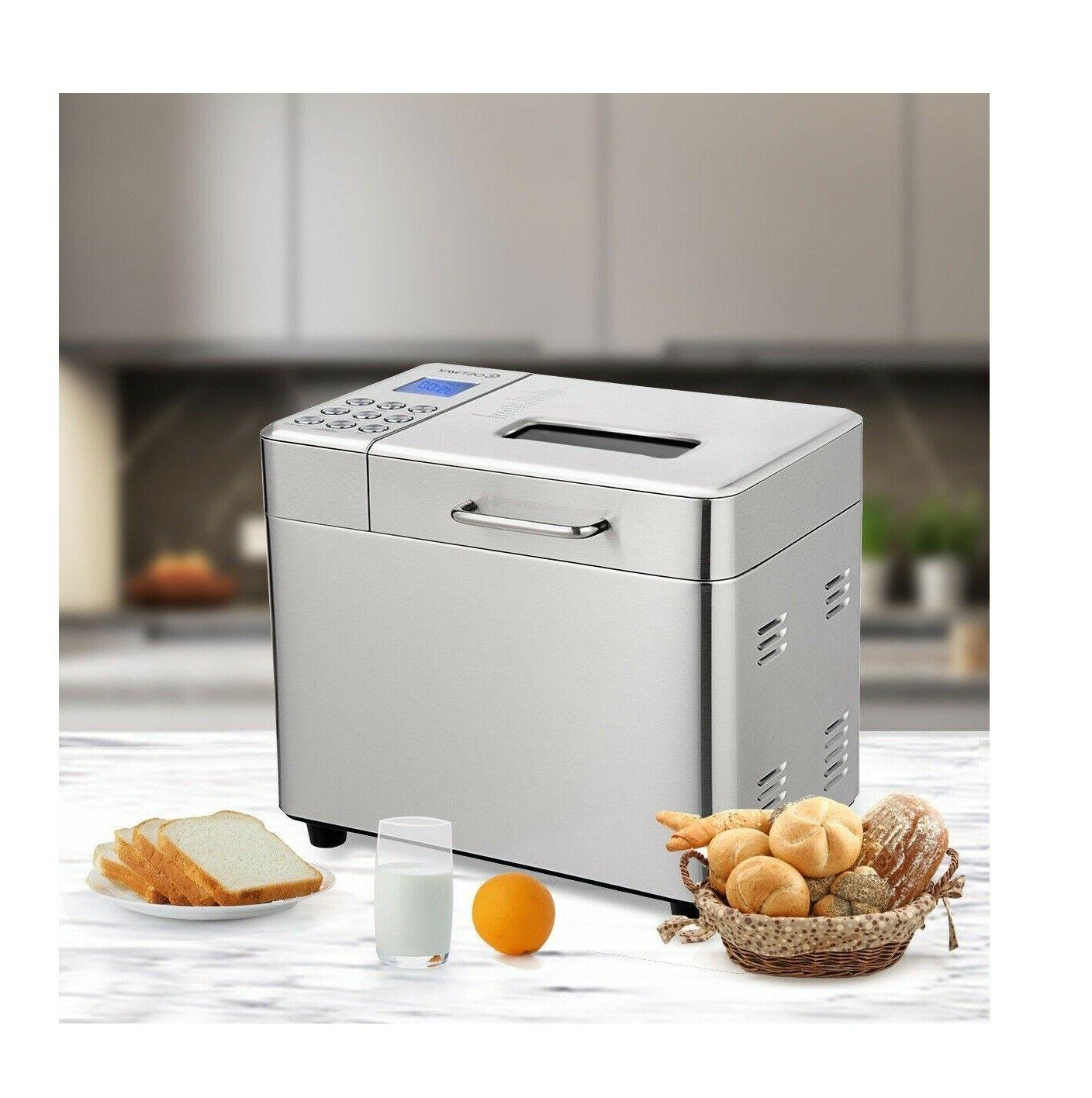 automatic bread maker stainless steel programmable 2lb
