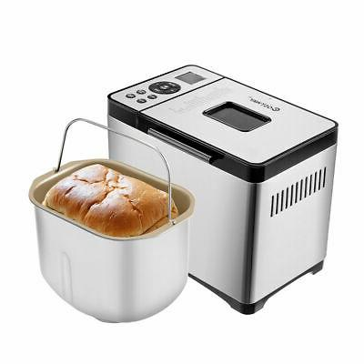 automatic stainless steel bread maker 2lb programmable