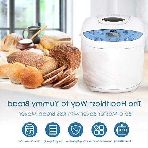 KBS Automatic Upgraded Bread Ceramic Whole Breadmaker Programs Sizes 3 Delay Keep Warm 2-White