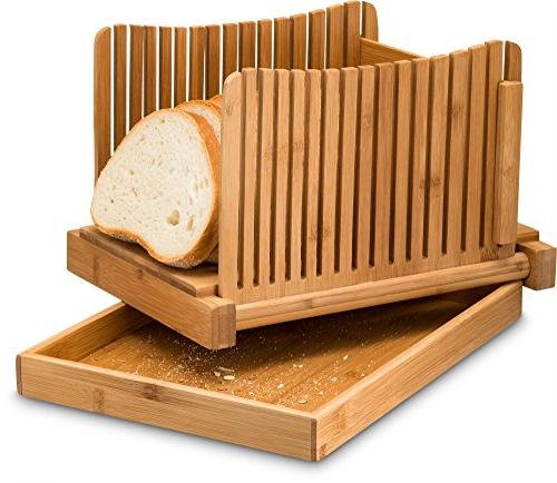 Bamboo Bread for Homemade Bread Cakes, Compact Cutter Wooden Slicer - Great with Bread Knife