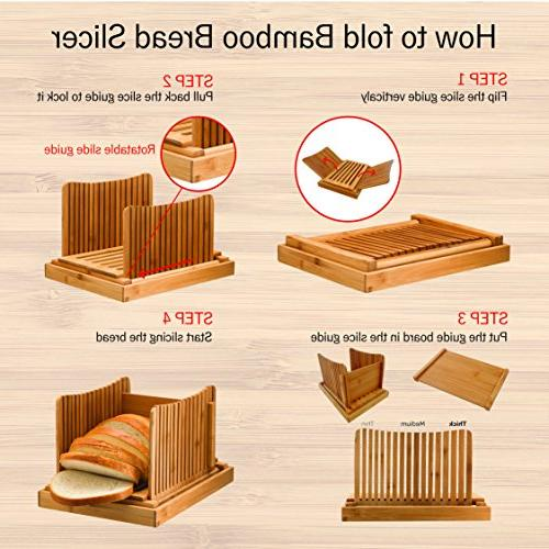 Bamboo Slicer Homemade and Loaf Cakes, Compact Foldable Cutter Guide, Bagel Slicer - with 10""