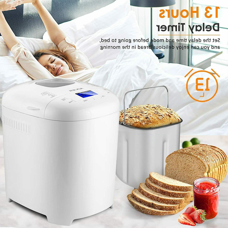 AOLIER Bread Machine, 2LB 14-in-1 Bread Maker with Nonstick