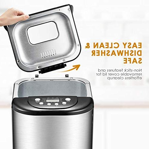 Bread Maker, Aicok 2 Pound with 15 Free with Time, Warm, 3 Colors, Steel