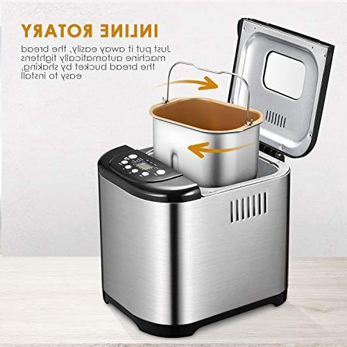 Bread Maker, Pound machine with Programs, Free Bread Maker Machine with Time, 1 Hour Warm, Loaf 3 Steel