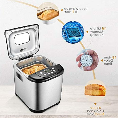 Bread Pound Automatic Bread machine Free Maker with Time, Hour Warm, Loaf Sizes, 3 Stainless Steel
