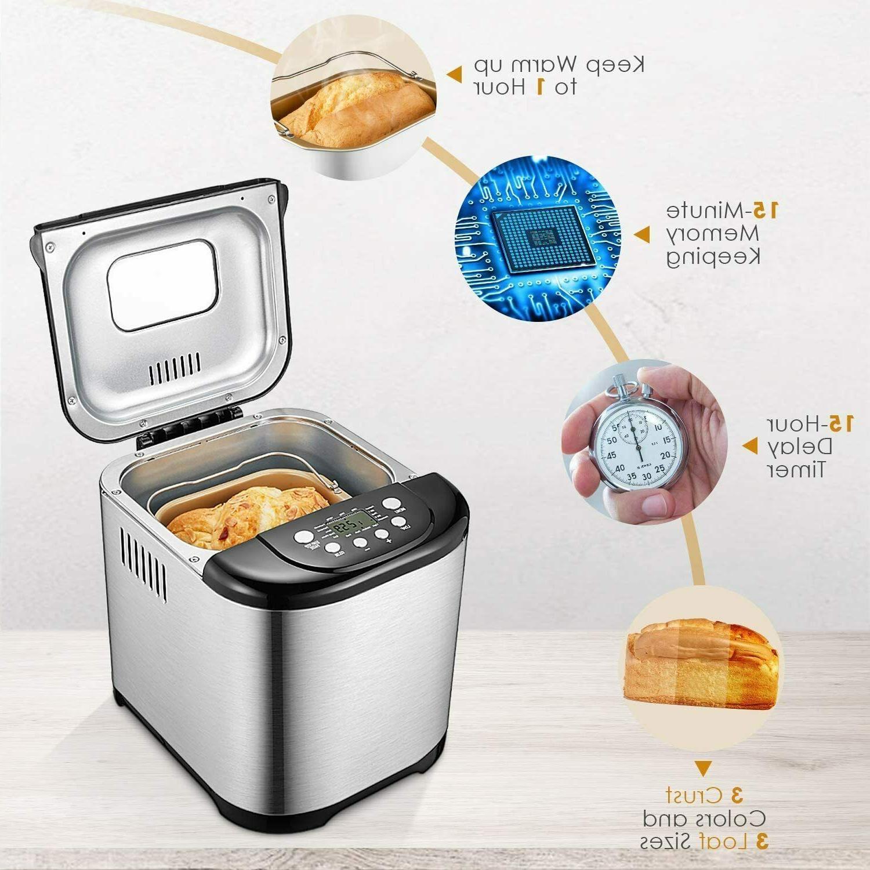 Bread Maker Automatic Programmable Bread Loaf Size Gluten Free