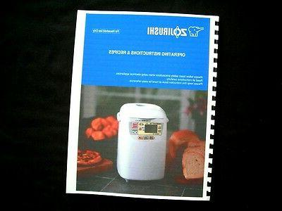 Zojirushi Bread Maker Machine Directions Instruction Manuals