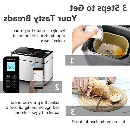 ALBOHES Stainless Bread Detachable Fruit & Programmable Menu Settings/24-Hour Timer/APP Control