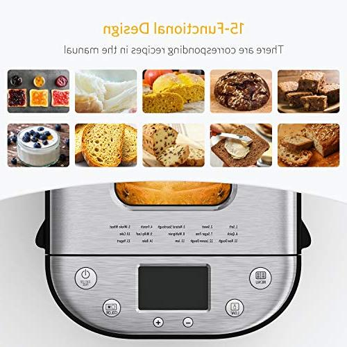 Homever Bread Automatic 2LB Bread with Setting, Fully Stainless Maker