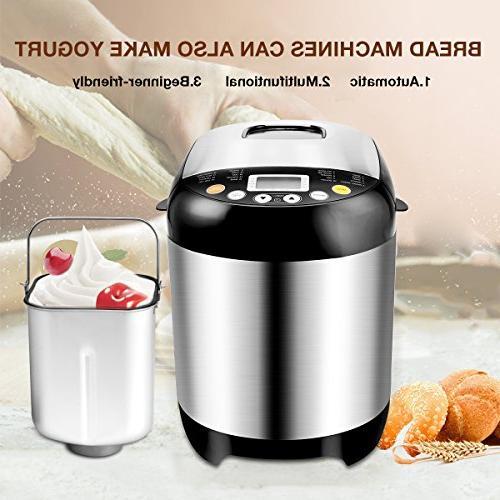 Breadmaker Programmable with 15 Time and 19 LCD Display