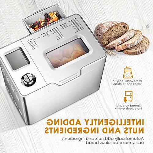 Custom Loaf Aicok 25 Programs Gluten Free Bread One-Knob-Operation, Large-Sized Visual and Nut Stainless Steel