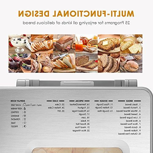 Free Bread with One-Knob-Operation, Large-Sized LED Visual Fruit and Nut Fully Stainless
