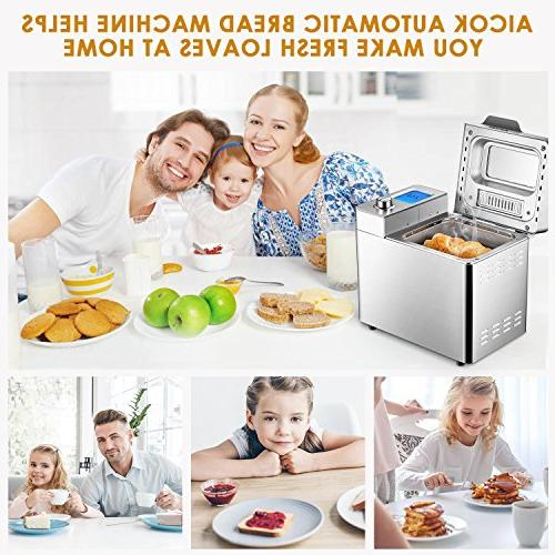 Custom Bread Aicok 25 Free Bread Machine Visual Menu, Removable Fruit and Nut Stainless Steel