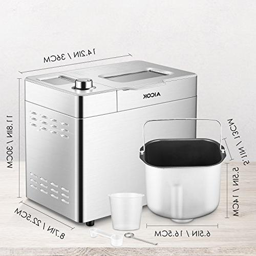 Custom Bread Maker, Aicok 25 Free One-Knob-Operation, Visual and Nut Stainless