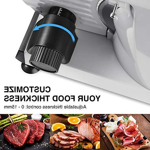 ALBOHES Meat Slicer, Professional Machine with 150W Motor, Meat Cheese for Use, 3 Interchangeable Blades 7.5''/ Plastic Non-Slip Feet