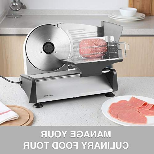 ALBOHES Electric Slicer, Professional with 150W Motor, Cheese Bread for Home Use, Interchangeable Stainless Steel 7.5''/ Plastic Blade