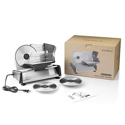 ALBOHES Meat Professional Slicing 150W Meat Cheese for Home Interchangeable Blades 7.5''/ Non-Slip Feet