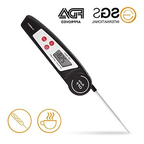 Instant Read for Kitchen, Grilling, Candy, Steak, Milk, Water Digital BBQ with Collapsible Internal Probe