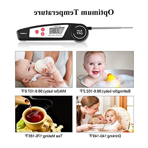 Instant Thermometer for Kitchen, Candy, Water Thermometer, BBQ Cooking Thermometer with Collapsible Internal Probe