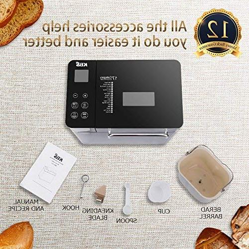 KBS MBF-010 Bread Machine with Dispenser LCD Display Control, 17 Crust Colors, Steel, 2-Exclusive Version
