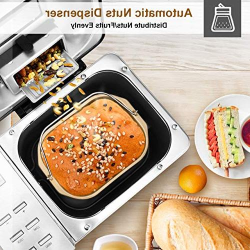 KBS Bread Maker Gluten Free with Fruit&Nut Dispenser, Menus 3 Crust LCD Nicer User Interface, Stainless