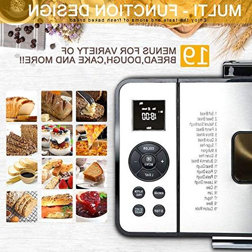 Secura MBG-016 Bread Maker, 2.2 Multi-function Design Stainless Bread Machine
