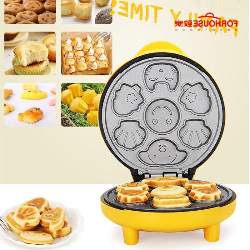 Non-stick <font><b>Pan</b></font> Electric Waffle Maker Portable Cute <font><b>Bread</b></font> Tools For Kids