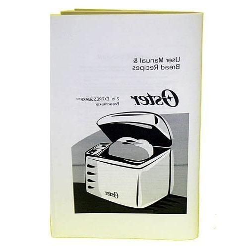 oster 102817 breadmaker instruction book