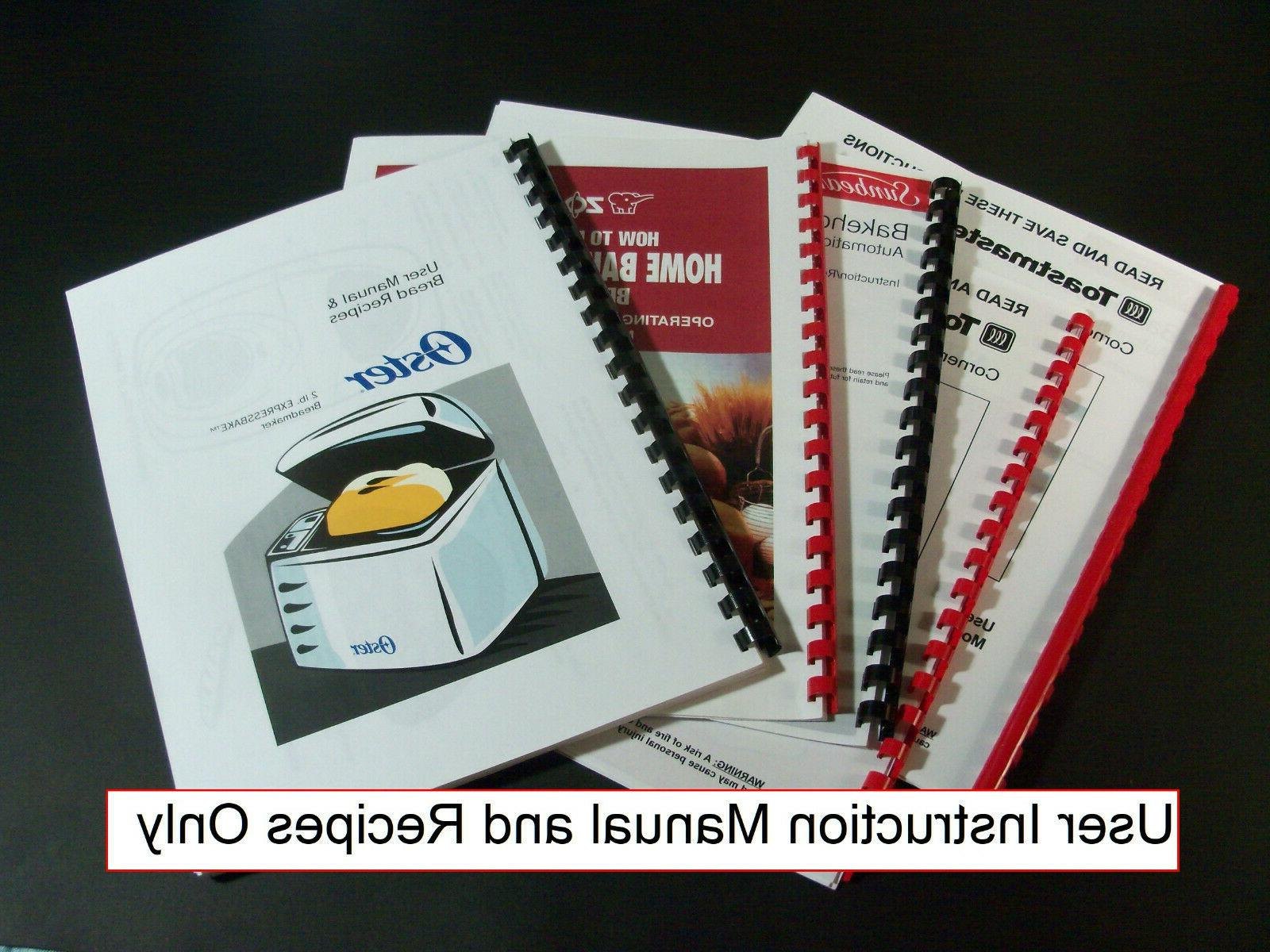 Breadman Bread Maker Machine Directions Instruction Manuals