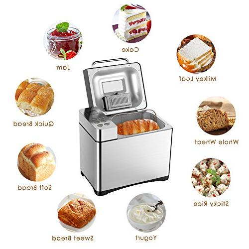 Automatic Bread Maker, 2.2LB Stainless Steel Bread Machine