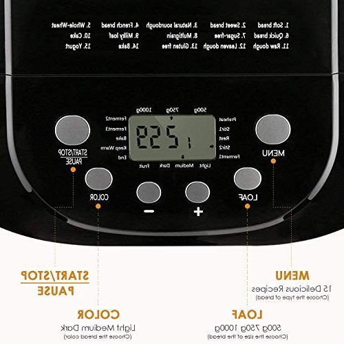 Programmable Bread Maker, 2.2LB Machine Gluten Menu setting, 3 Sizes, 3 15-Hour Hour Warm