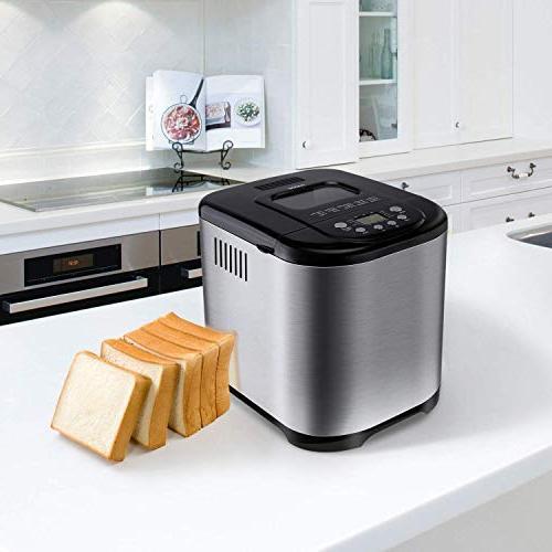 Programmable Bread Maker, Aicok Machine Menu Sizes, 3 Crust Colors, 15-Hour Delay Hour