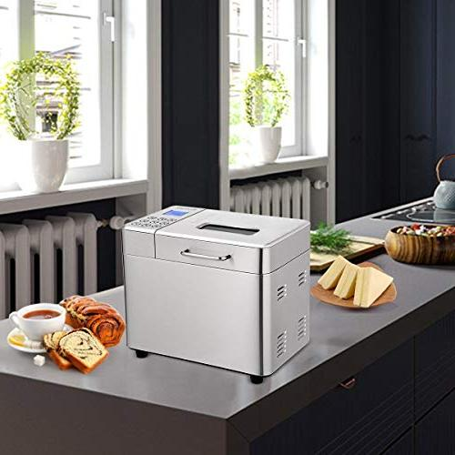 Stainless Machine - Automatic Bread Maker with 15 Hours Delay Hour Warm