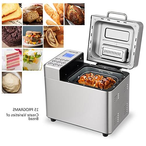 COSTWAY Automatic Bread Maker Stainless Multifunctional Machine 15 3 Sizes, Colors, 15 Delay Timer, 1
