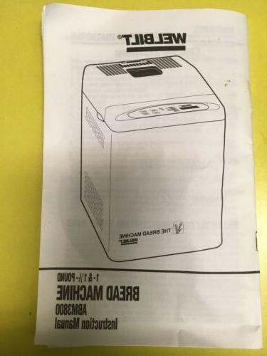 Welbilt Bread Makes 1.5 Lb ABM3800 New Not Box