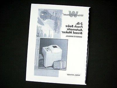 wtr7000 bread maker machine instruction manual